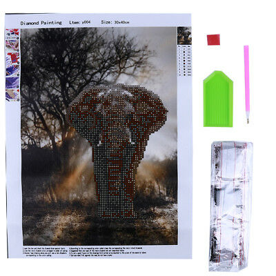 Elephant Painting Embroidery Diamond Cross Stitch Craft Kit Home Decor Z