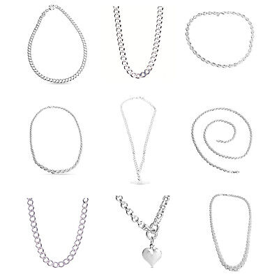 Real Italian Silver Curb Rope Necklace Chains Fashion Jewellery 925 Sterling