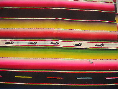 Rare Vintage 1930S Mexican Saltillo  Blanket Throw With Duck Figures