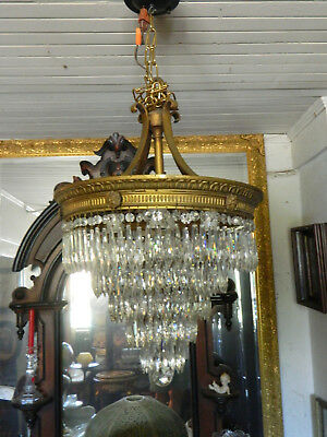 Gorgeous Vintage Crystal Tiered Wedding Cake Chandelier circa 1930