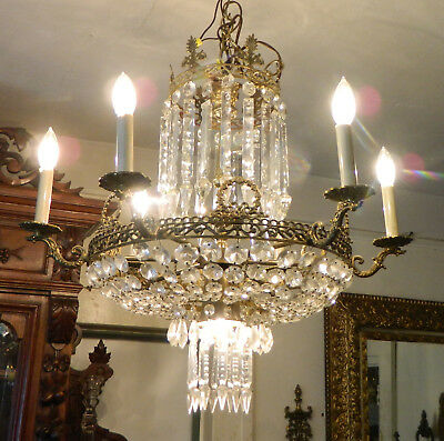 Vintage French Empire Crystal Chandelier circa 1930