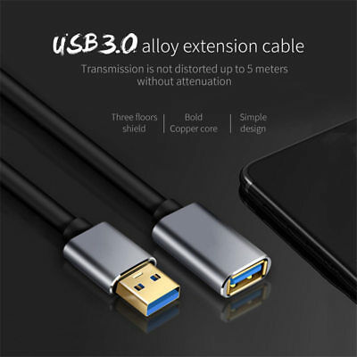 USB Extension Cable USB 3.0 2.0 Male to Female Data Sync Extender Cable Cord New