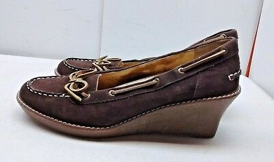 d7d348009fb Sperry Top Sider Women s Brown Leather Platform Wedge Loafer Casual Shoe  Size 9M
