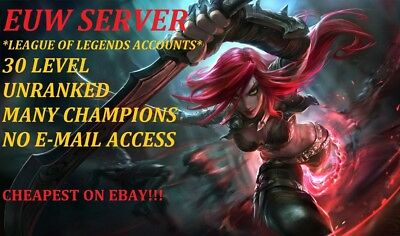 League Of Legends Account Lol Account 30Level Unranked Euw Server No Mail Access