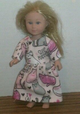 "6/6.5"" Doll Clothes-fit Mini American Girl My Life-Nightgown-Pink w/Cats"