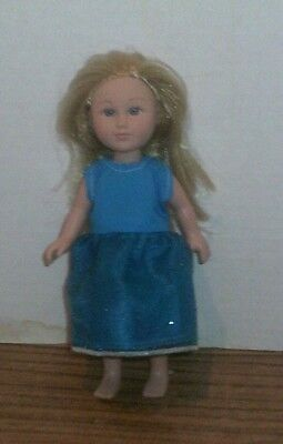 "6/6.5"" Doll Clothes-fit Mini American Girl My Life-Party Dress-Sparkle  Lt Blue"