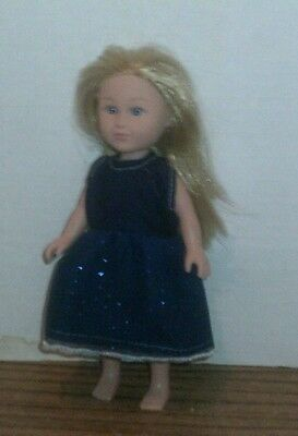 "6/6.5"" Doll Clothes-fit Mini American Girl My Life-Party Dress-Sparkle  Dk Blue"