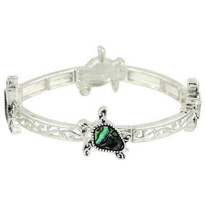 Sea Turtle Fashionable Stretchable Bracelet - Abalone Paua Shell - Silver Plated