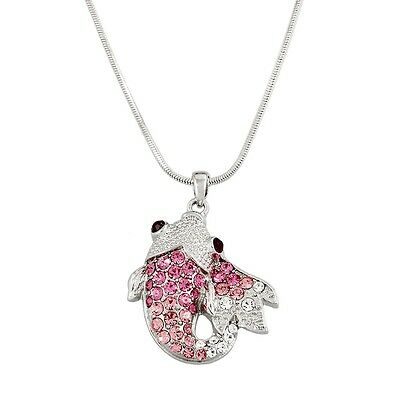 "Carp Fish Charm Pendant Necklace - Sparkling Crystal - 17"" Chain - 7 Colors"