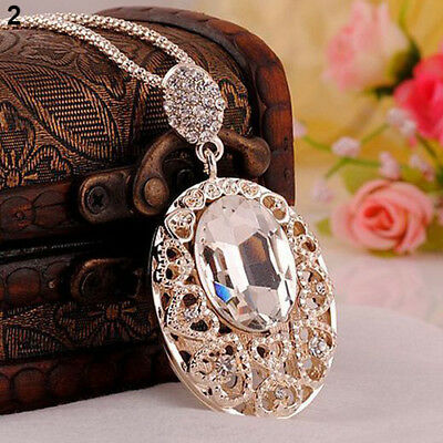 Vintage Rose Gold Plated Crystal Champagne or White Pendant Necklace USA Seller
