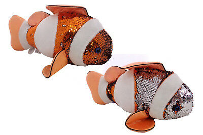 Sequinimals Sequin Plush CLOWN FISH~Adorable Stuffed Animal by Reversible Sequins Purple to Silver Rinco