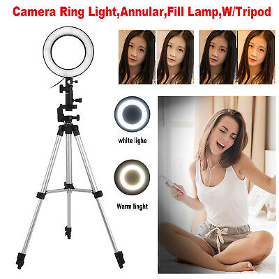 16cm LED Ring Light Studio Camera Photo Video Selfie Fill Light Lamp w/ Tripods