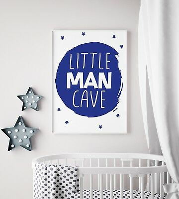 Little Man Cave Circle Navy Nursery Print Kids Room Boys Wall Art Picture Gift