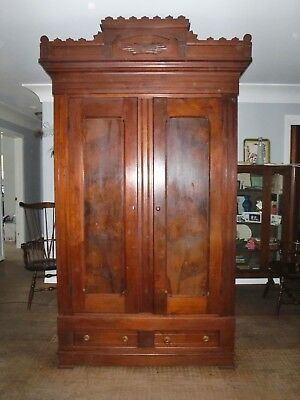 Antique large wood Knock Down Eastlake Wardrobe Armoire Clothes storage cabinet
