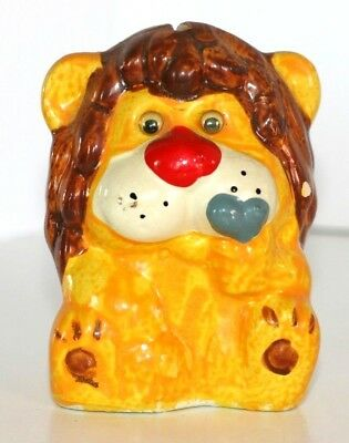 Coin Piggy Bank Chalkware Lion Googly Eyes Holding Heart No Stopper GUC Vintage