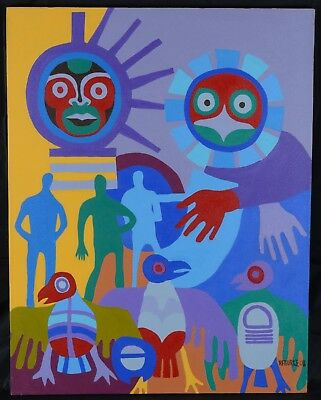 Robert Burke Native Painting First Nations Mask and Figures Canadian 29x38""