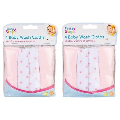 Pack of 8 Soft Baby Pink Wash Cloths Towel Flannel 0 Months +