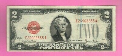 $2 1928 Two Dollar USA Legal Tender Note Red Seal Bill Old Paper Currency Deuce