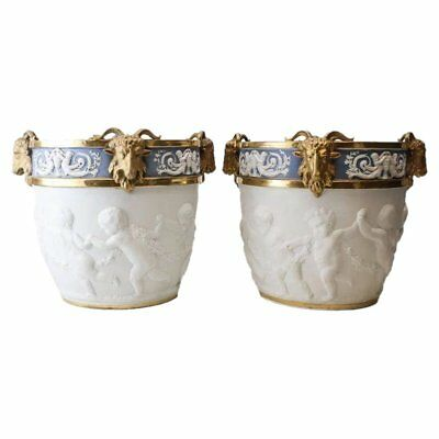 Large Pair of Sevres French Porcelain Cache Pots Hand Chased Cherub 19th C