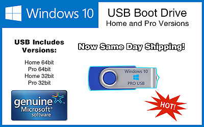 Microsoft Windows 10 Pro/Home 64/32bit USB Boot Drive INSTALL REPAIR RECOVER PC