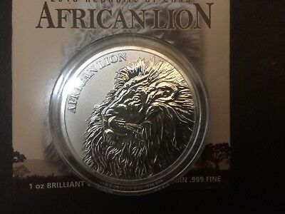 2018 Republic of Chad African Lion 5000 Francs 1 oz. Silver coin