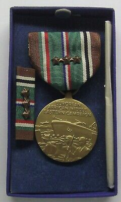 WW II U.S. EAME European Campaign Medal Set in Original Box 3 Battle Stars