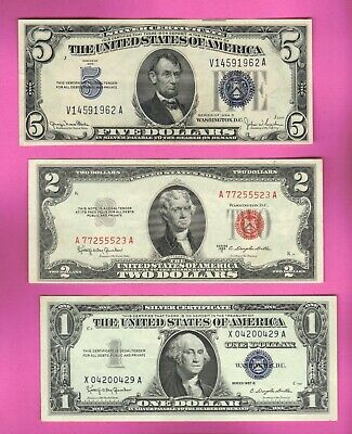 $5 & $1 Dollar USA Silver Certificates+ $2 Legal Tender Note Red Seal Bill Money