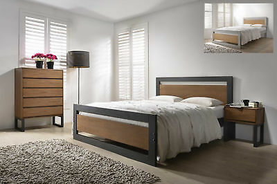 Olivia Industrial Style Solid Wooden Bed Frame Modern Various Colours Sizes