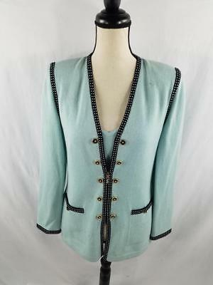 St John Collection Marie Gray Womens M 4 Blue Zip Up Knit Jacket w/ Cami Top VTG