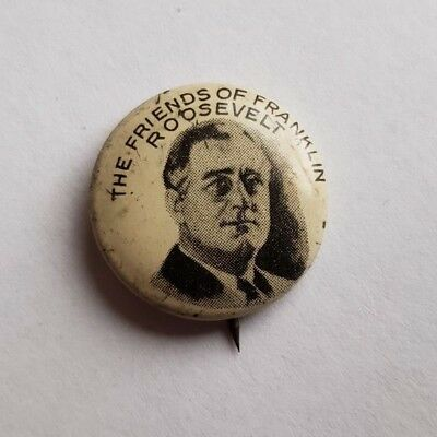 FDR Franklin Roosevelt FRIENDS OF ROOSEVELT pin back button AUTHENTIC GREENDUCK