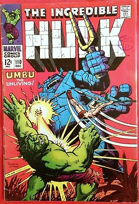 INCREDIBLE HULK 110 MARVEL SILVER AGE 1968 First appearance & death of Umbu