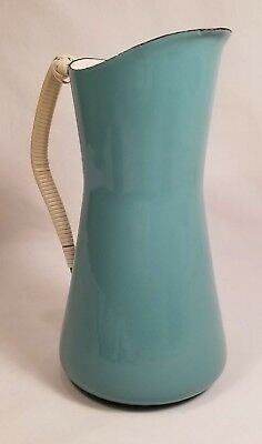 IHQ KobenStyle Denmark Dansk Design Enamel Pitcher Teal with Wrapped Handle 10""