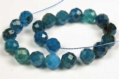 Translucent Deep Teal Blue Apatite Faceted Small Round - 5 mm - 20 beads - 6726A