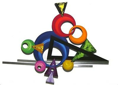 Funky Unique & Colorful Abstract Art Wood Wall Sculpture with Metal Orb #1-Art69