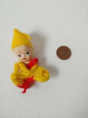 Vintage Miniature Paper Mache & Felt Pixie Elf Ornament 2.75""