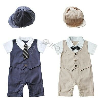 Infant Baby Boys Gentleman Romper+Hat Set Tuxedo Wedding Birthday Party Outfit