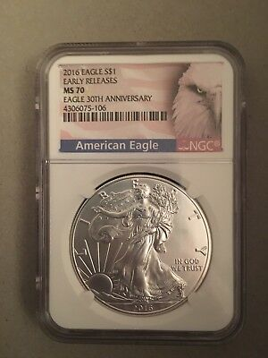 2016 AMERICAN SILVER EAGLE NGC MS70, EARLY RELEASE, 30th ANNIVERSARY, BALD EAGLE