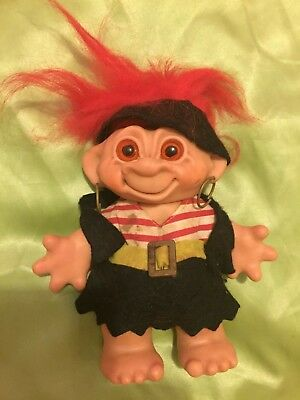 TROLLS THOMAS DAM  DOLL 1960's PIRATE FEMALE BANK TROLL VERY RARE COLLECTABLE