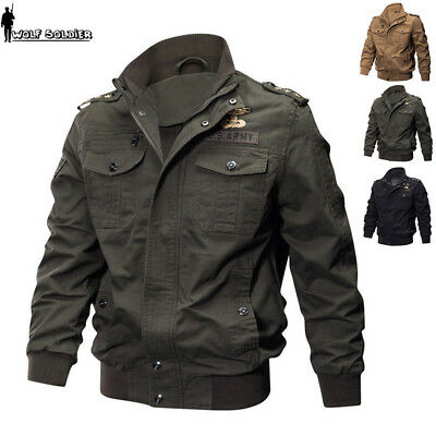 Mens Military Jacket Flight MA1 Bomber Jackets Pilot Flying Coat US Army Outwear
