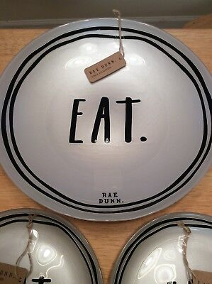 VERY RARE! Rae Dunn EAT. Serving Bowl Silver Glass Collection Brand New