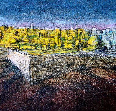 Jewish OLD COLOR ETCHING Jerusalem TEMPLE MOUNT Israel AL AQSA MOSQUE Palestine
