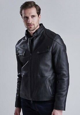 Barbour International Traction Motorcycle Leather Jacket Black Size M