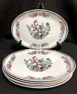 6-pc Oval Royal Falcon Ironstone Weatherby Hanley England 4-78 Floral Plates