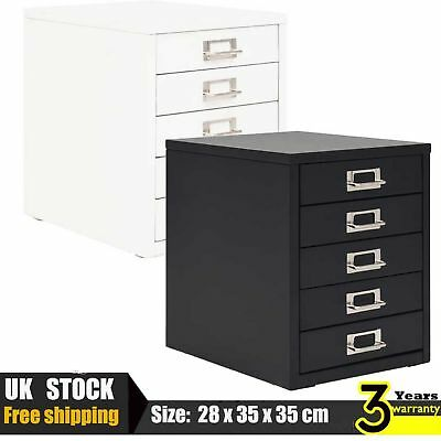Filing Cabinet with 5 Drawers Metal Office Storage Document Cupboard White/Black