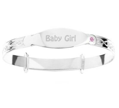 Real Silver Girls CZ Christening Bangle Pre-engraved Baby Girl