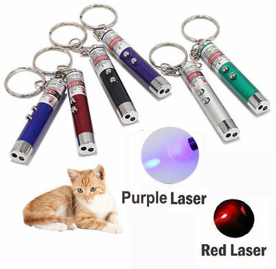 NEW 2-in1 Laser Lazer Pen Pointer Keychain Keyring With torch Pet Cat Dog Toy UK