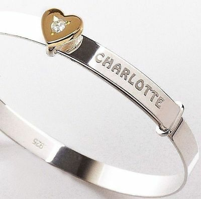 925 Sterling Silver Personalised Baby Bangle Gold Plated Heart Xmas Gift + Box