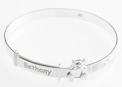 925 Sterling Silver Personalised Teddy Bear Baby Christening Bangle Bracelet