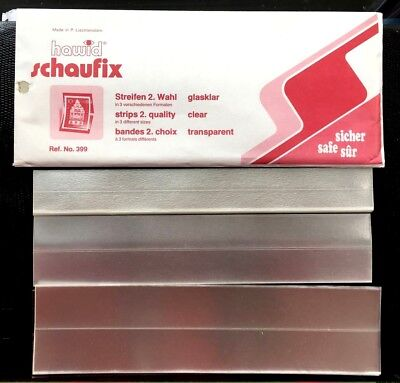 Hawid Schaufix Stamp Mounts Clear : 40 Strips/ 3 different size