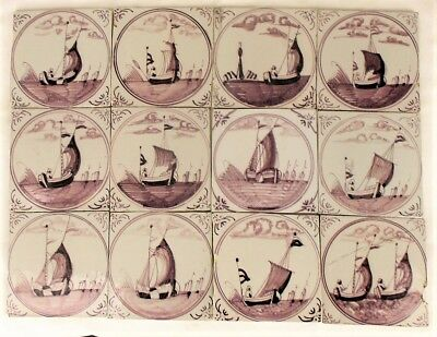 Antique Dutch Delft Tiles Fisherman & Boats Ship Manganese 18th/19th C Tile